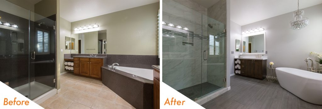 bathroom remodel with modern standing tub.