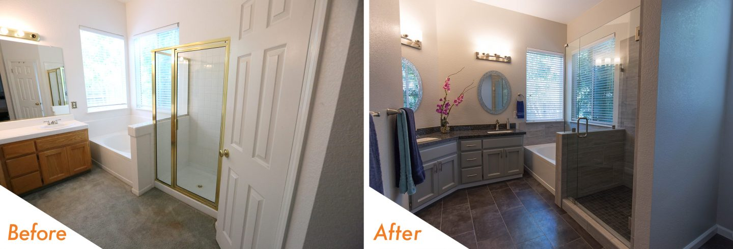 with a new cool grey color palate our team turned this stark white bathroom into a lovely retreat our designer casey worked close with the homeowners to - Bathroom Remodel Elk Grove Ca