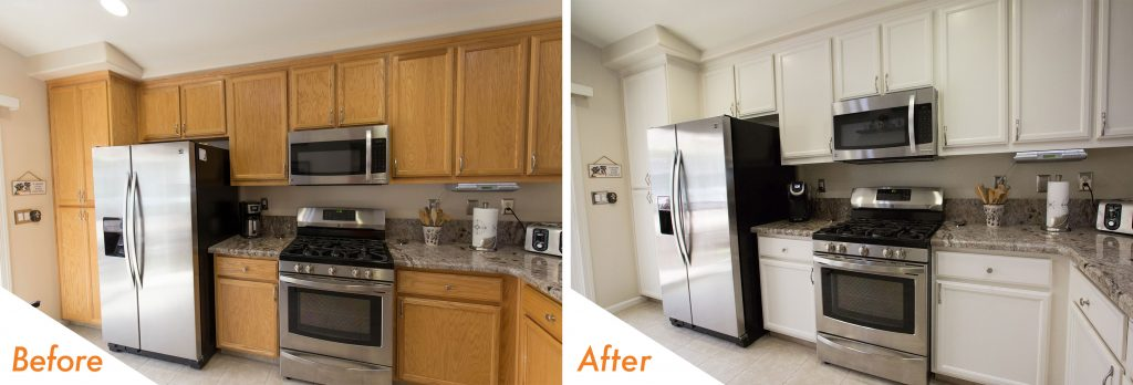 before and after kitchen cabinet refinish.