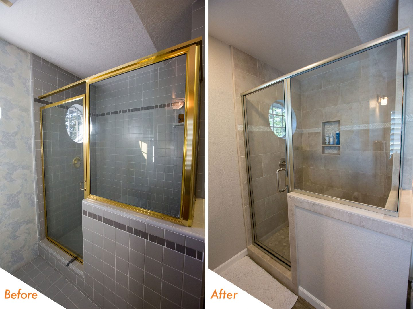 newly remodeled bathroom shower.