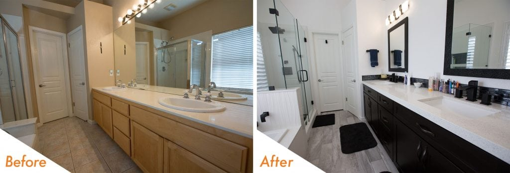 matte black and white bathroom remodel.