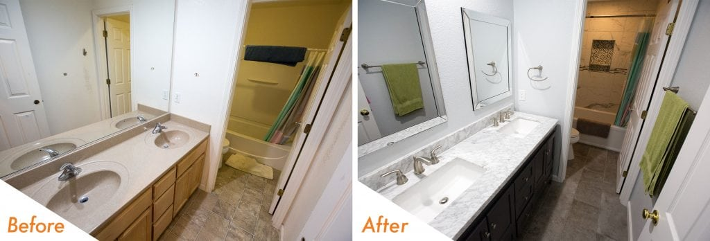 Modern bathroom remodel before and after.