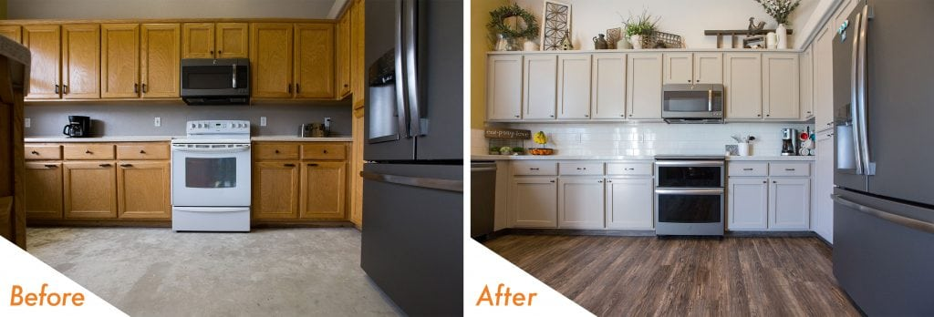 refinished cabinets and new flooring.