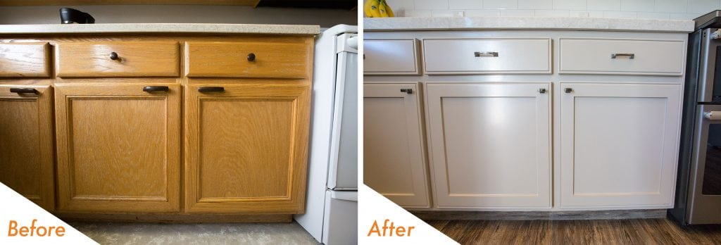 before and after cabinets and fixtures.
