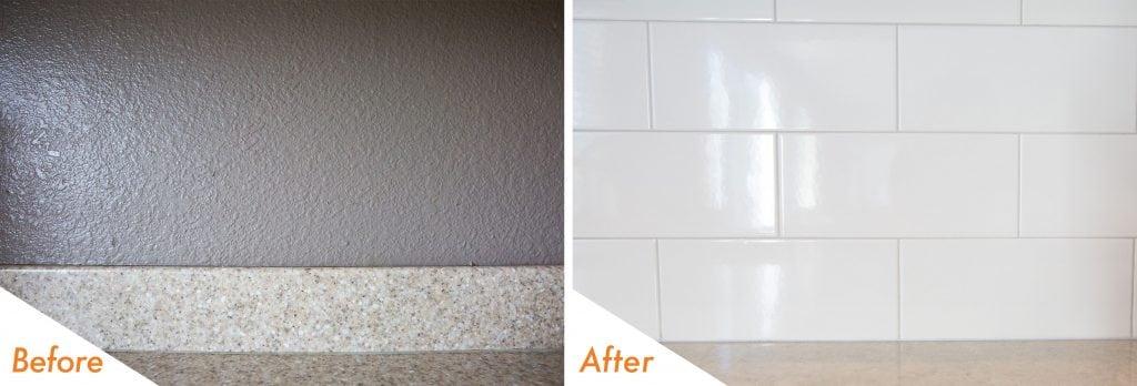 full height tile backsplash.