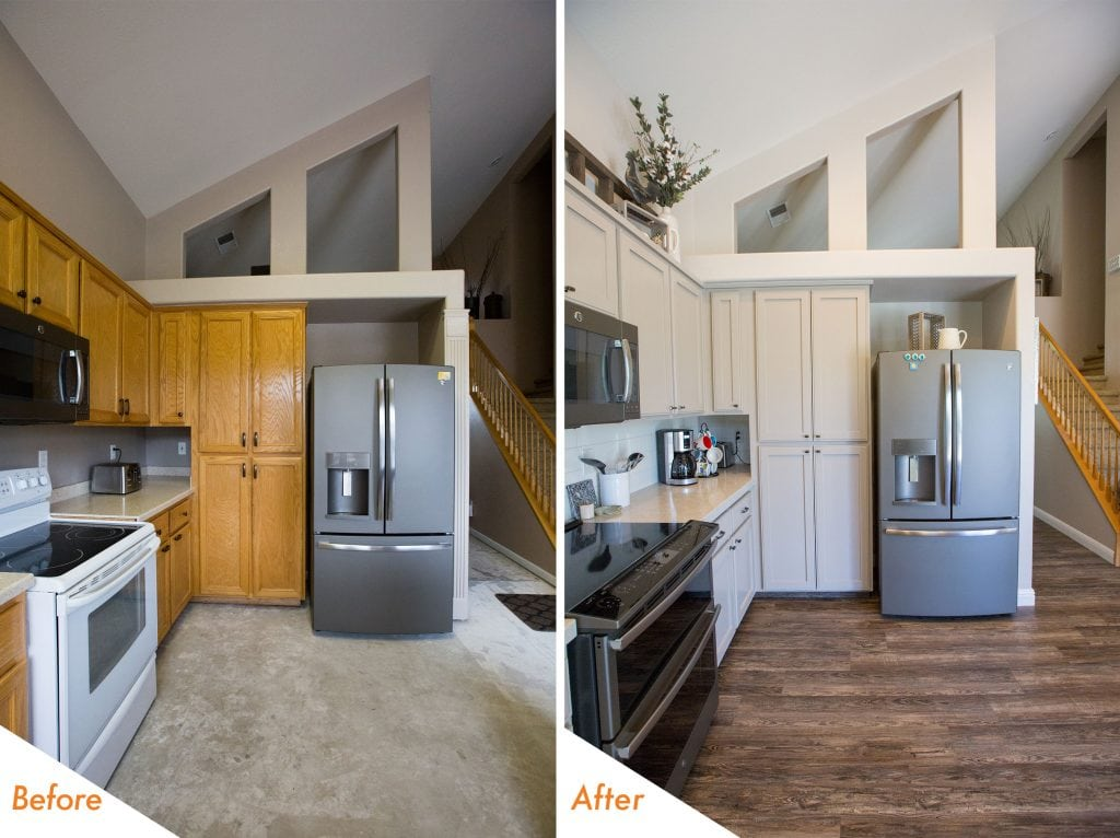 before and after open concept kitchen remodel.