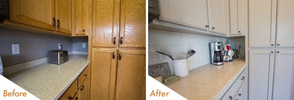 new countertop, cabinets and backsplash.