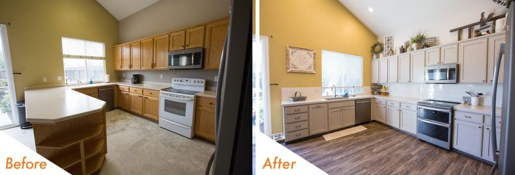 before and after kitchen remodel in Turlock, CA.