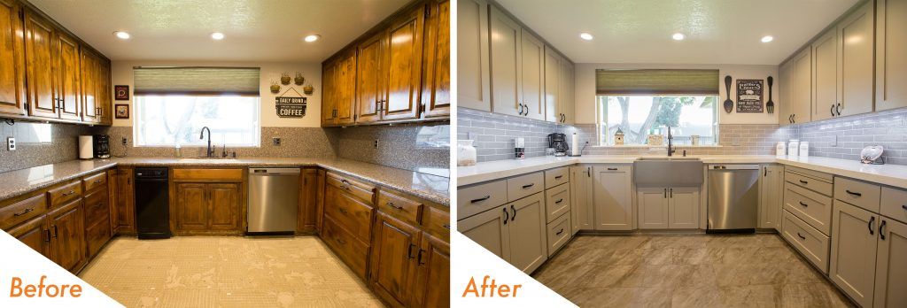before and after kitchen remodel in Modesto, CA.