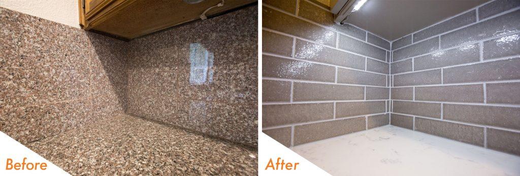 beautiful full-height tile backsplash.