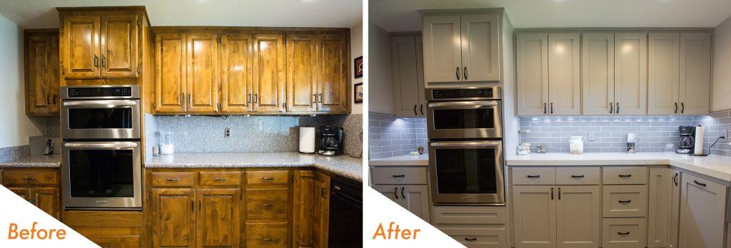 new cabinets, backsplash, and countertop.