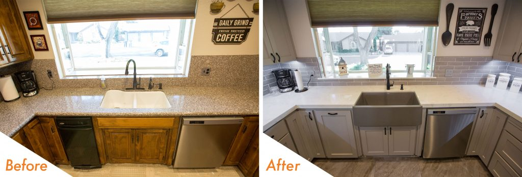 Before and after kitchen sink remodel.