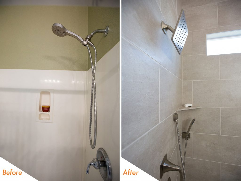 new shower tile and fixtures.