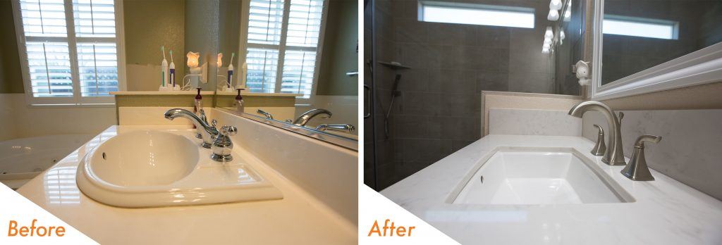 before and after bathroom renovation.