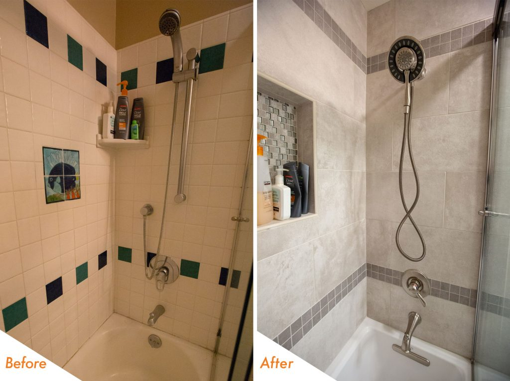 custom shower tile and hardware.