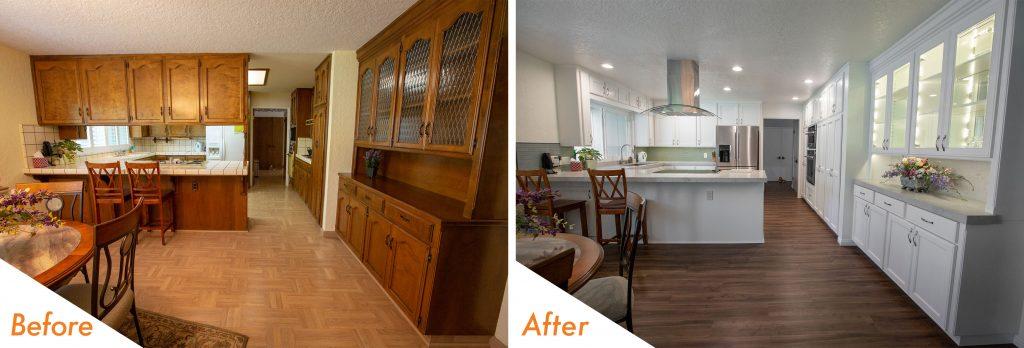 Open-concept kitchen remodel.