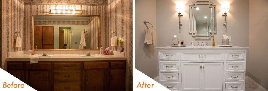 Before and after bathroom vanity.