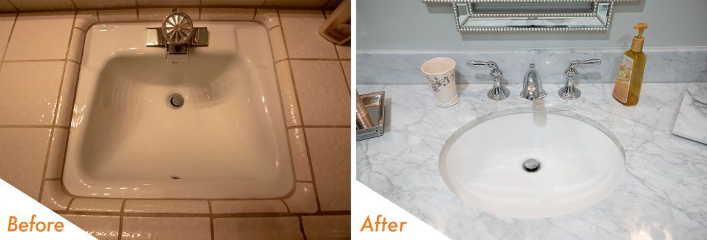 Before and after sink and fixtures.