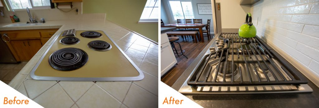 Before and after stove top.