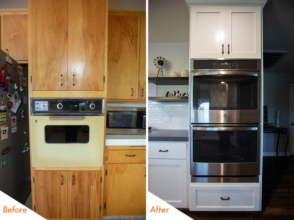 New double ovens and custom cabinets.