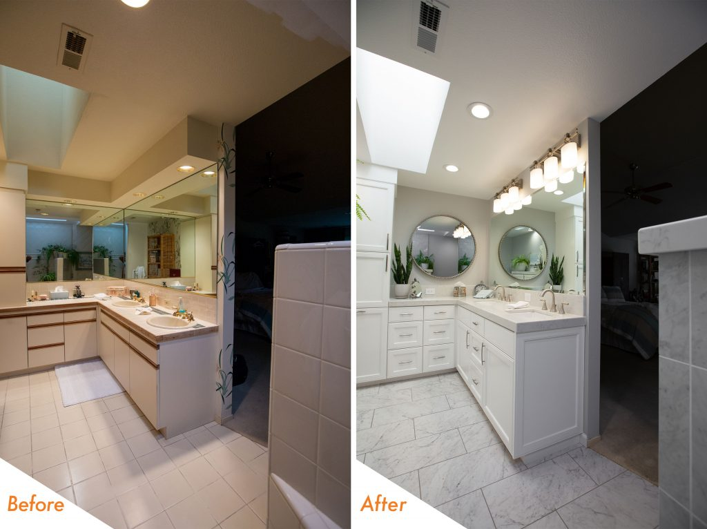 Before and After Light Fixtures.
