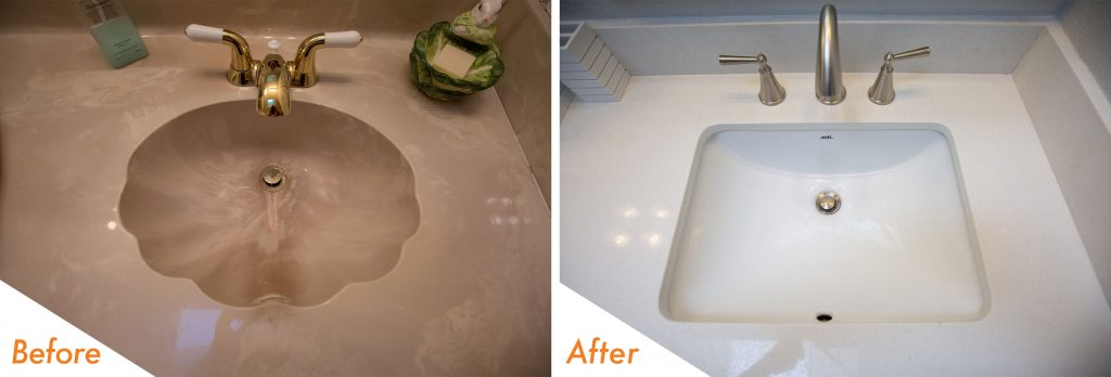 Before and after bathroom sink.