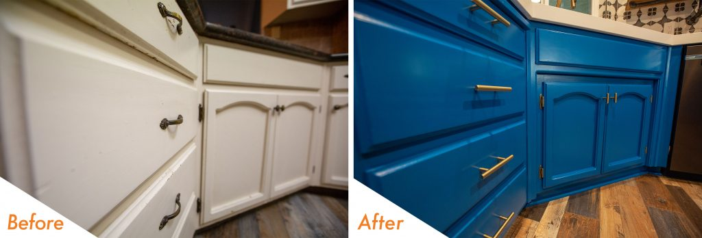 Kelly-Moore Blue Curacao cabinets.
