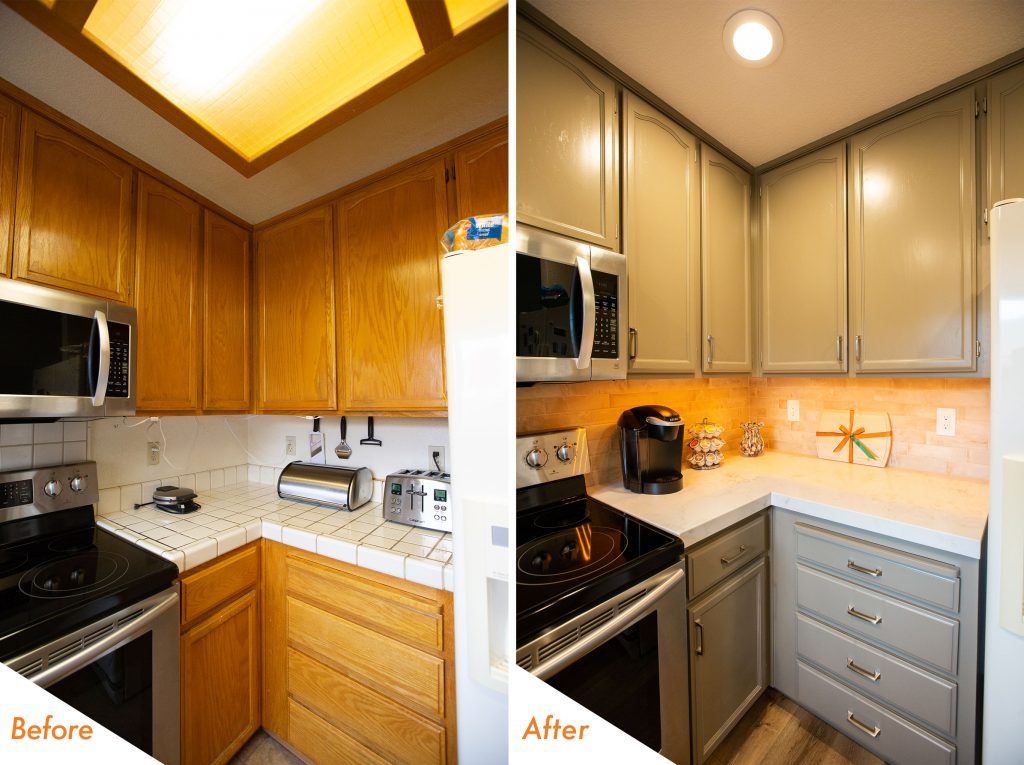 new lighting, cabinets, countertop, appliances, and flooring.