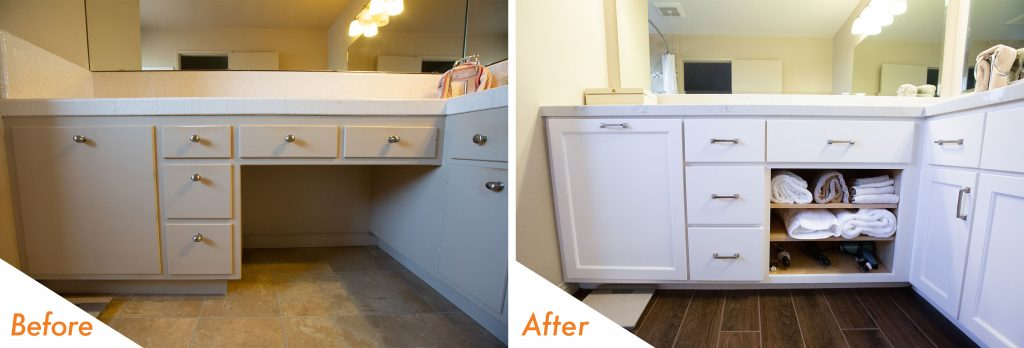 before and after modern bathroom remodel.