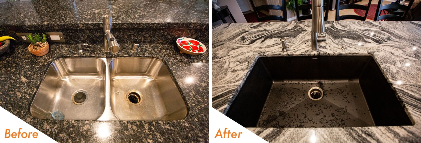 kc Cherry Blossom before and after sink remodel.
